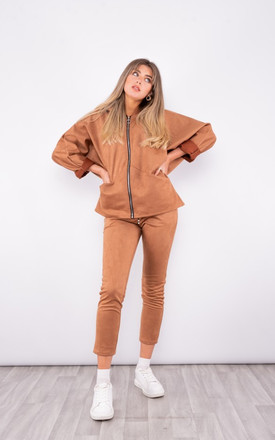 Suede zip up hoodie Tracksuit in caramel by LOES House