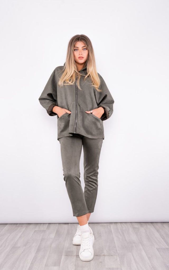 Suede zip up hoodie Tracksuit in khaki green by LOES House