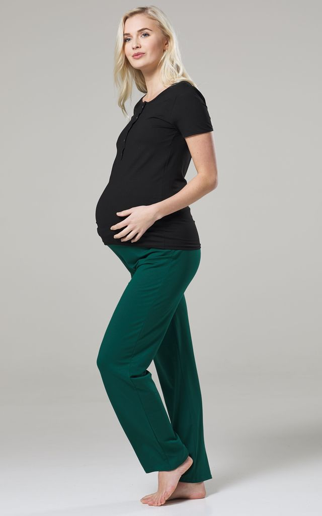 Women's Maternity Nursing Pyjama Set Long Pants Top Nightwear Black & Dark Green 083 by Chelsea Clark