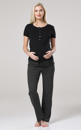Women's Maternity Nursing Pyjama Set Long Pants Top Nightwear Black 083 by Chelsea Clark