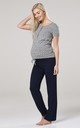 Women's Maternity Nursing Pyjama Set Long Pants Top Nightwear Grey Melange with Circles 083 by Chelsea Clark