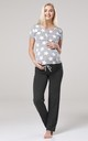 Women's Maternity Nursing Pyjama Set Long Pants Top Nightwear Grey Melange with Stars 083 by Chelsea Clark
