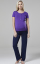 Women's Maternity Nursing Pyjama Set Long Pants Top Nightwear Purple 083 by Chelsea Clark
