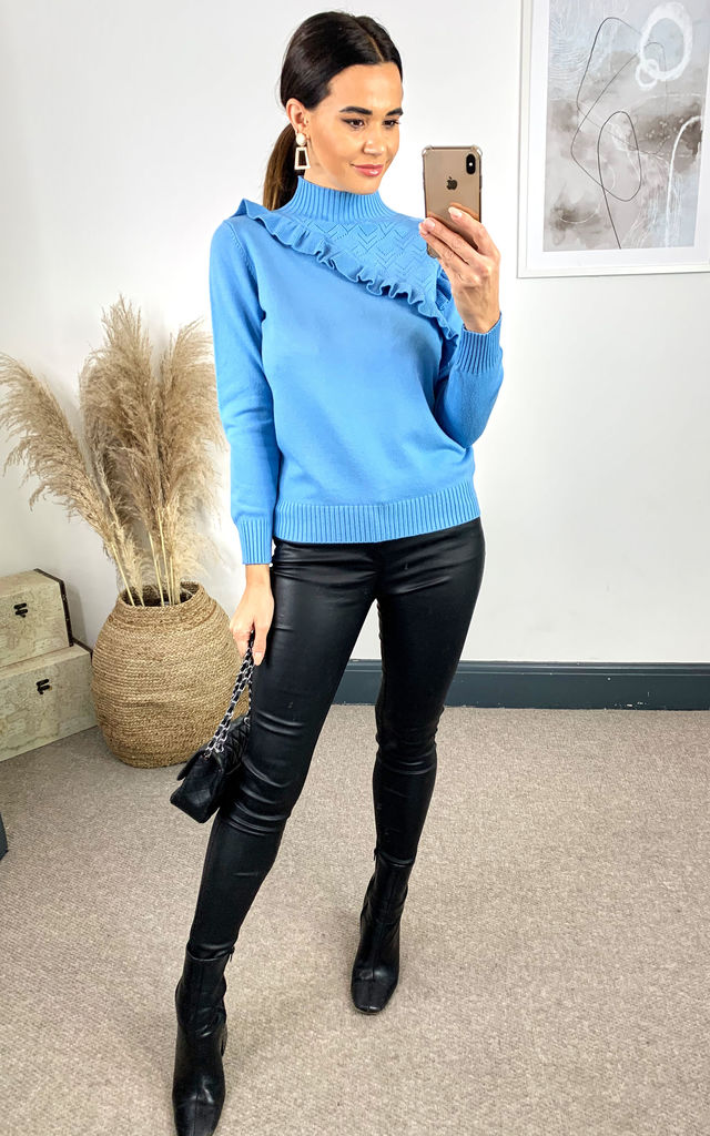 High Neck Frill Shoulder Long Sleeve Knitted Jumper Blue by Shikha London