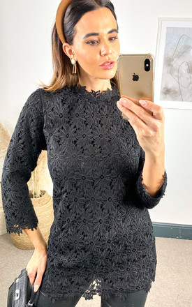 Floral lace detailed mini tunic Black by Shikha London