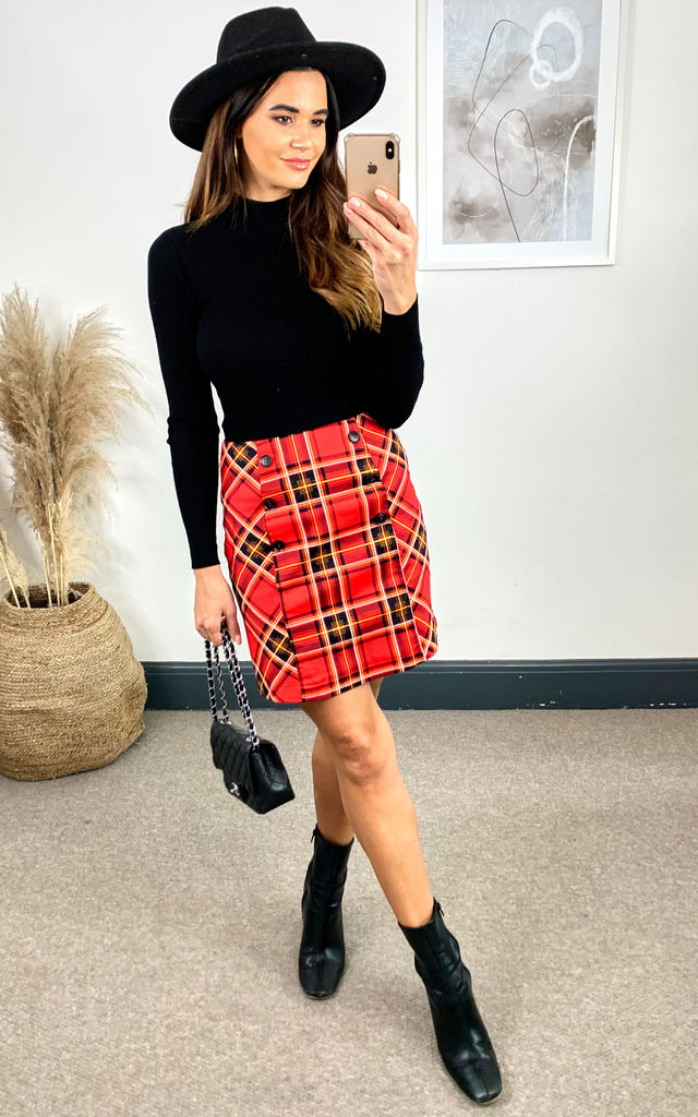 Checked Cotton Mini Skirt, Red Check by JOLIE MOI