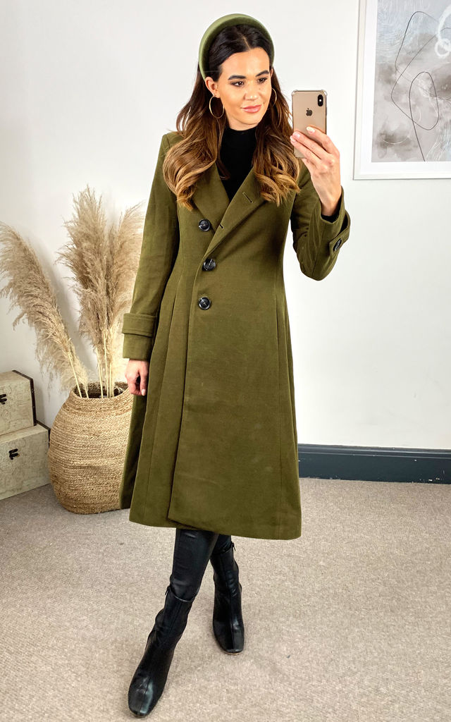 Asymmetrical Button-Front Coat, Soldier Green by JOLIE MOI