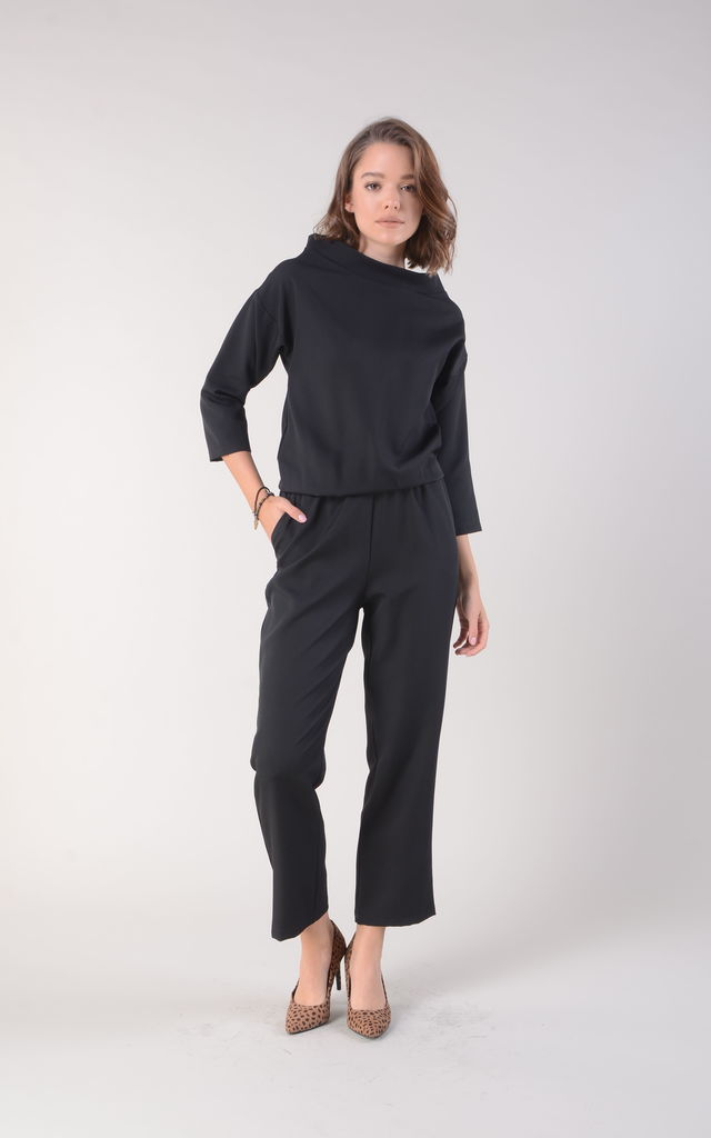 Black Jumpsuit with High Neck and Pockets by Bergamo