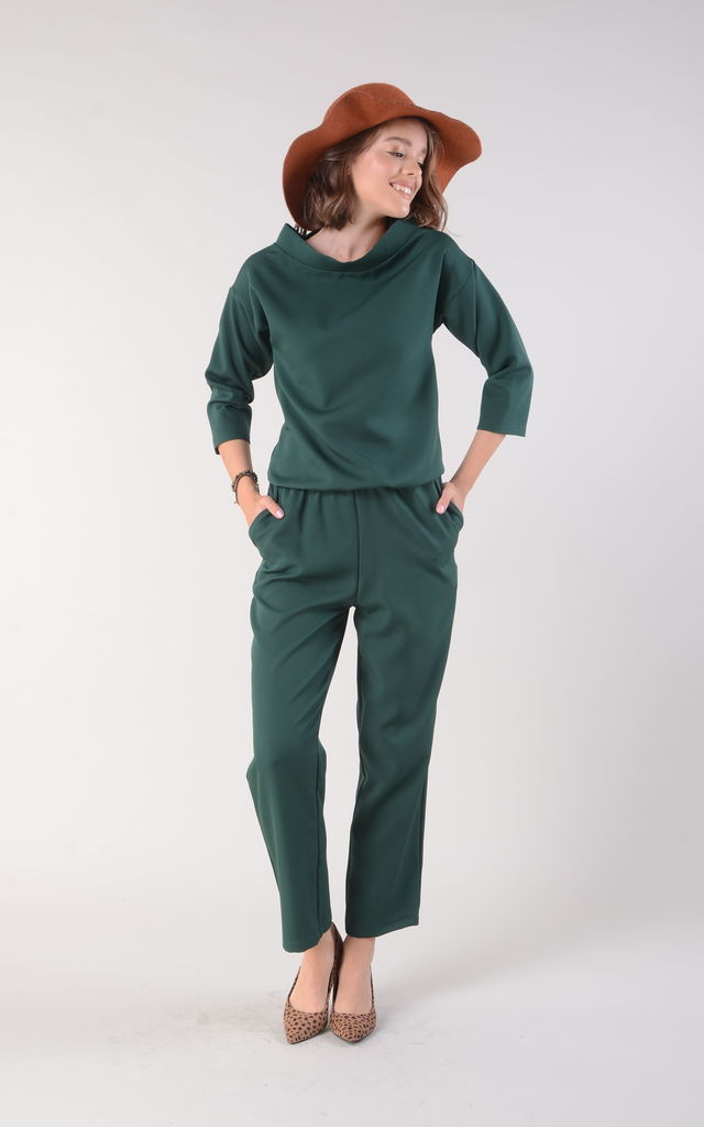 Green Jumpsuit with High Neck and Pockets by Bergamo