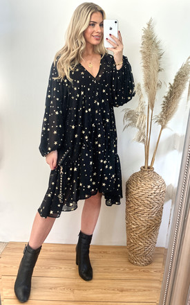 Star Print Smock Dress In Black With Metallic Stars by Edie b. Product photo