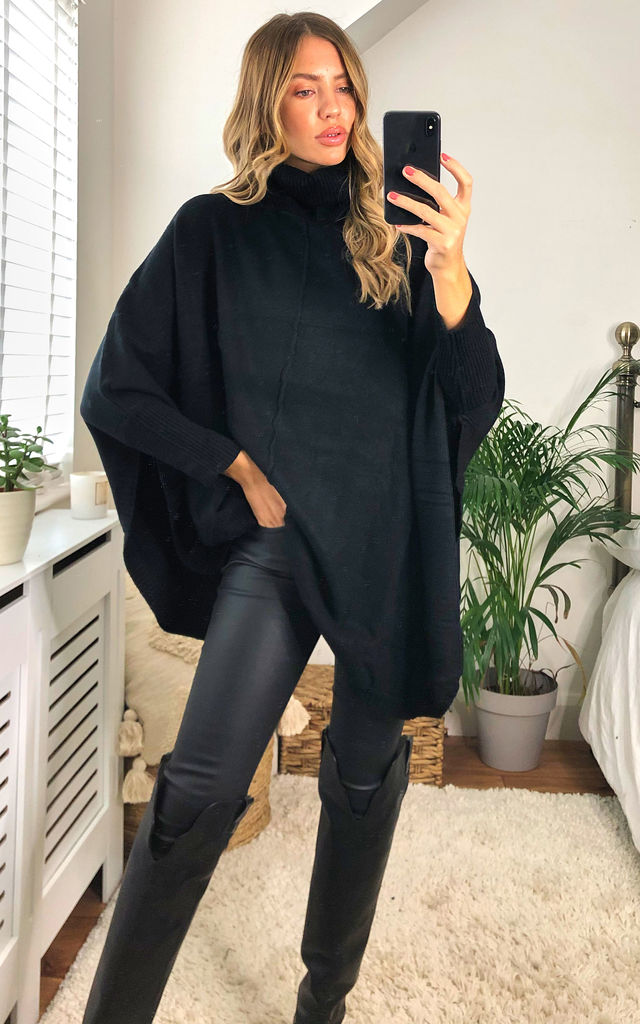 Cashmere Cowl Neck Poncho in Black by KURT MULLER