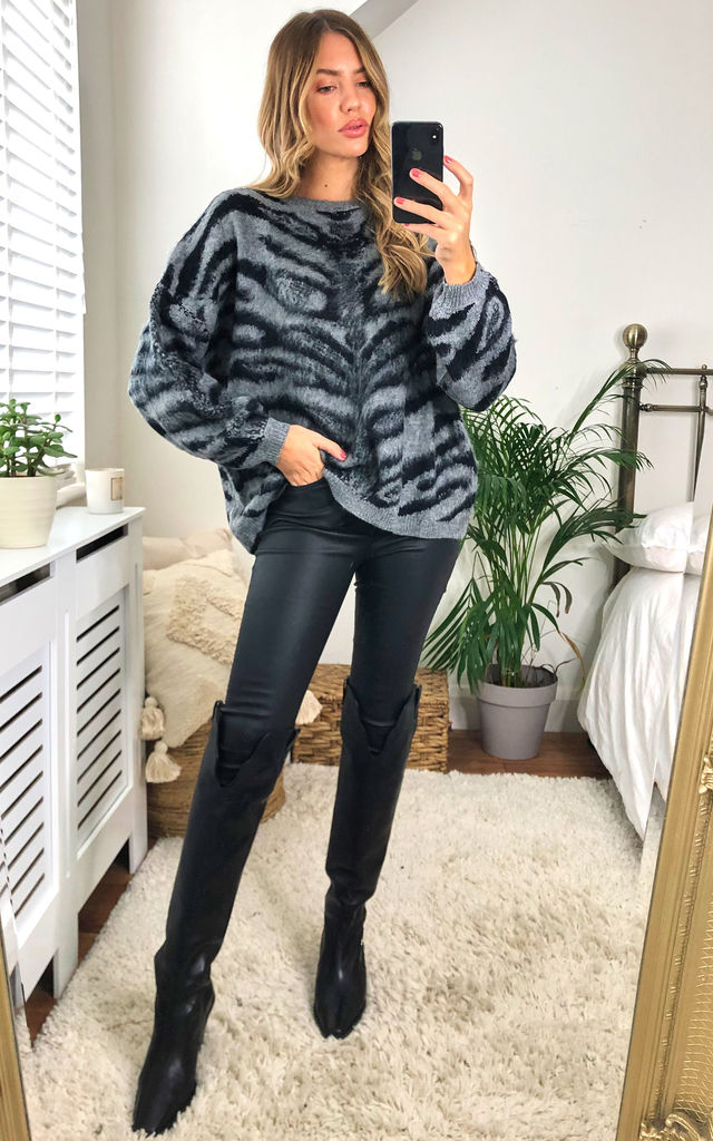 Animal Print Soft Jumper in Grey by KURT MULLER