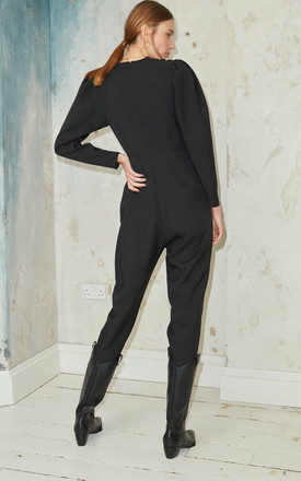 Tiar Jumpsuit Wrap Folding Detail Puff Sleeve by Jovonna London