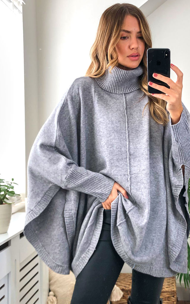 Cashmere Cowl Neck Poncho in Grey by KURT MULLER