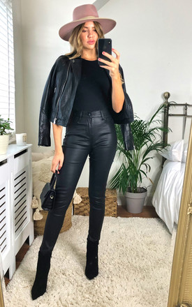 Black Leather Look Jeans by KURT MULLER