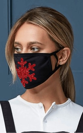 Glitter Snowflake Face Mask - Christmas Colours Red and Green by hydestyle london
