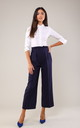 7/8 Leg Trousers with High Waist in Navy Blue by Bergamo