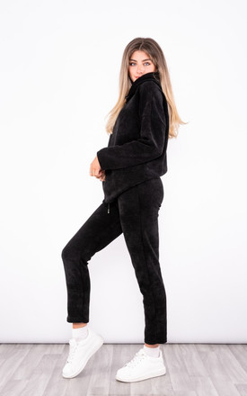 Corduroy tracksuit hoodie / slim jogger with tie in black by LOES House