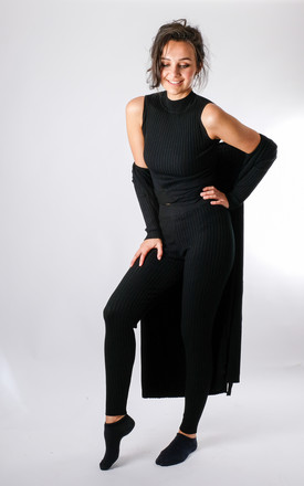 Lollita - Knitted 3 Piece Ribbed Lounge Set with Midi Length Cardigan In Black by Pinstripe