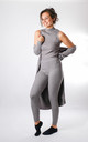 Lollita - Knitted 3 Piece Ribbed Lounge Set with Midi Length Cardigan In Grey by Pinstripe