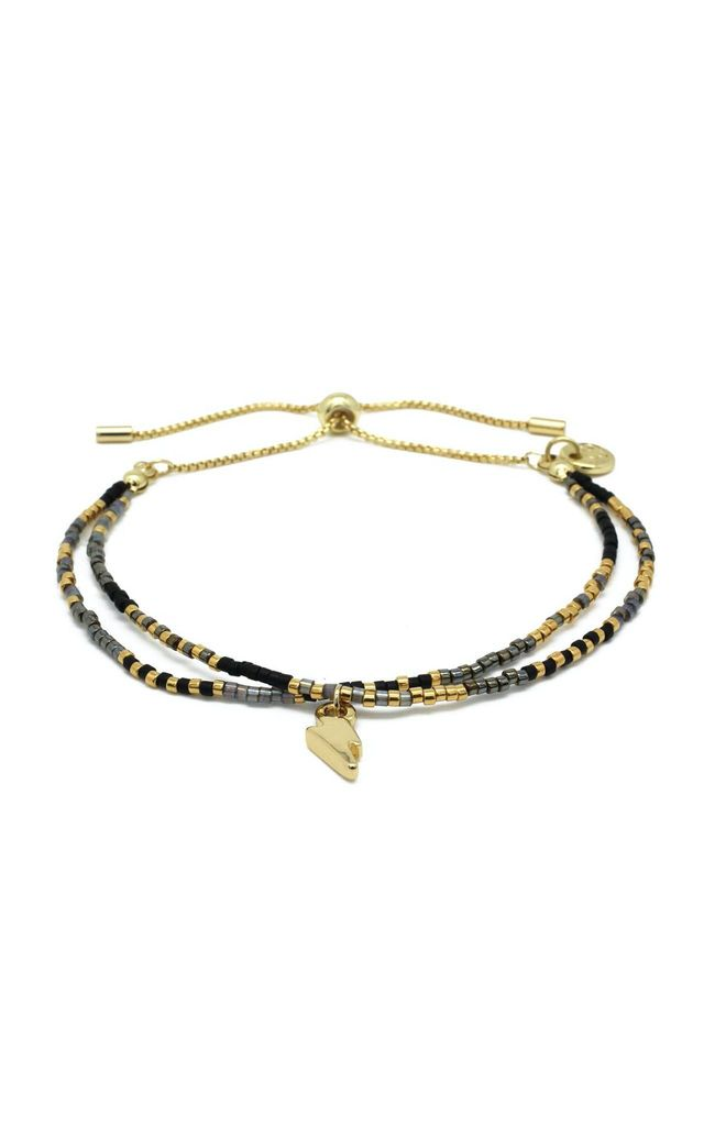 Clarinet Black Gemstone Bracelet with Lightning Bolt Charm by Boho Betty