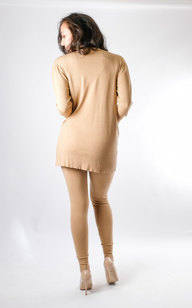 Leah - 3 Piece Soft Knit Loungewear In Beige by Pinstripe