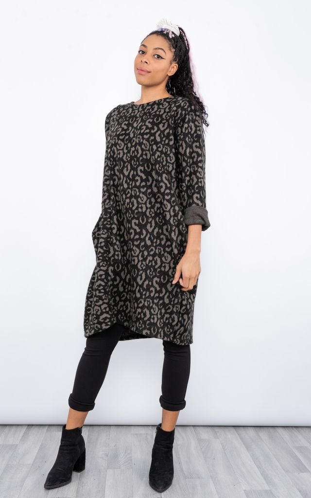 Animal Print Jumper Dress (Taupe) by Lucy Sparks