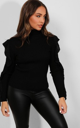 BLACK LONG CUT OUT SLEEVE JUMPER HIGH NECK FRILL DETAIL by Portobello Punk