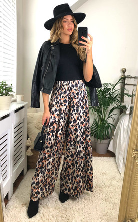 Blonde Ambition Wide Leg Trousers in Orange Animal Print by Traffic People