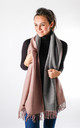 Wool Mix Two Tone Scarf In Dusty Pink/Grey by Pinstripe