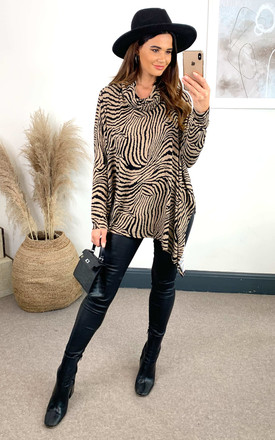 Sophia Abstract Zebra Oversized Cowl Neck Top by Blue Vanilla Product photo