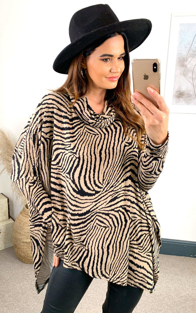 SOPHIA Abstract Zebra Oversized Cowl Neck Top by Blue Vanilla