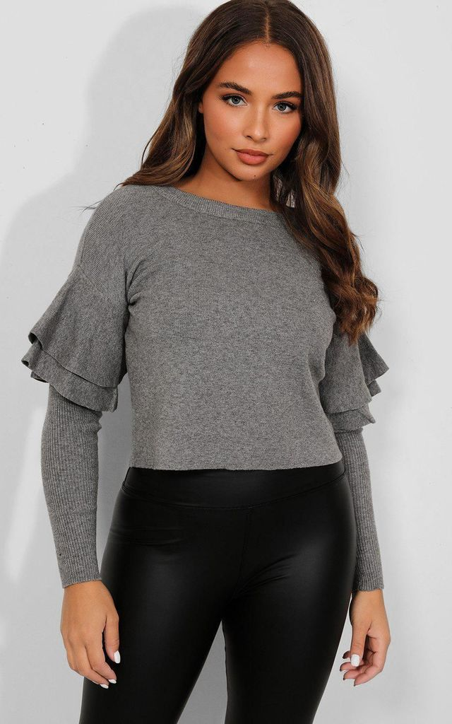Dark Grey Double Frill Long Sleeve Pullover by Portobello Punk