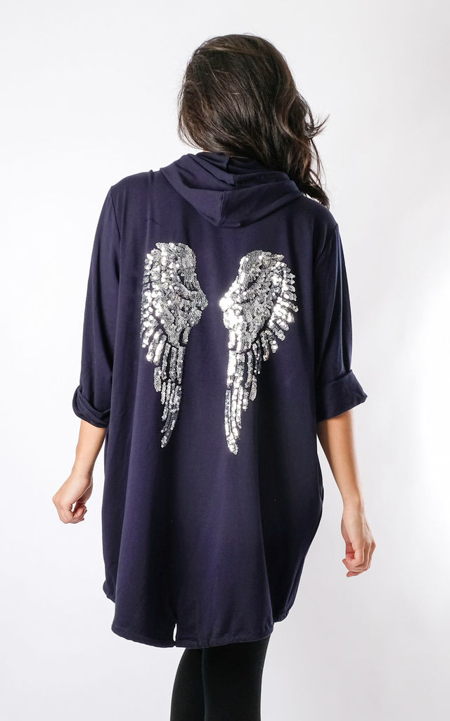 Hope - Angel Wing Back Oversized Cardigan In Navy by Pinstripe