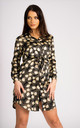Gold Leaf Printed Satin Black Belted Shirt Dress by LOVE SUNSHINE