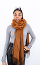Faux Fur Trim Scarf (Camel) by Lucy Sparks