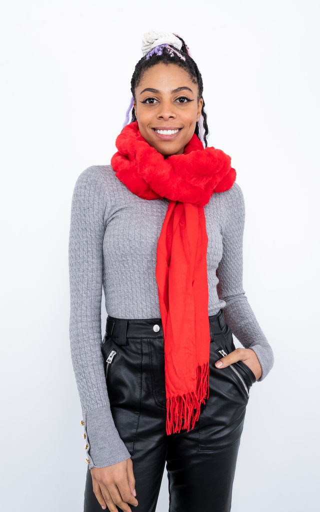 Faux Fur Trim Scarf (Red) by Lucy Sparks
