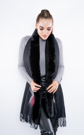 Faux Fur Abstract Scarf (Black) by Lucy Sparks