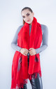 Faux Fur Abstract Scarf (Red) by Lucy Sparks