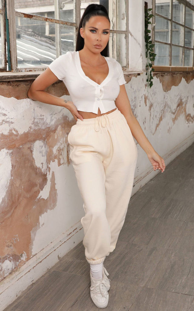 Lizzie Cream Cuffed High Waisted Joggers by Femme Luxe