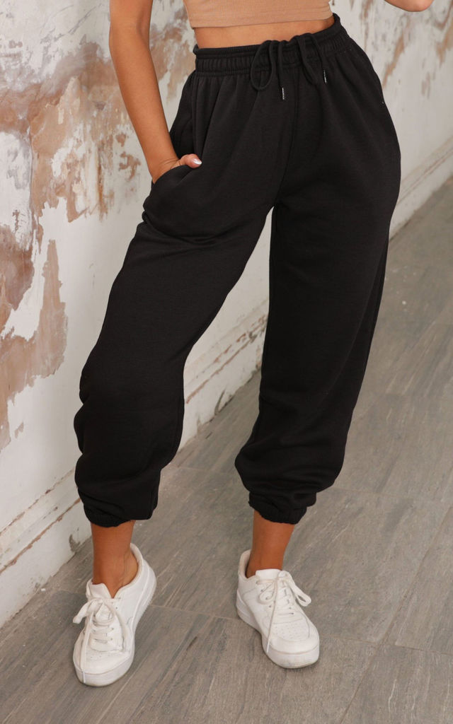 Lizzie Black Cuffed High Waisted Joggers by Femme Luxe