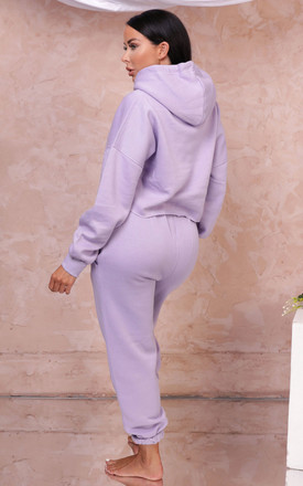 Alya Lilac Cropped Hoodie & High Waisted Jogger Loungewear Set by Femme Luxe