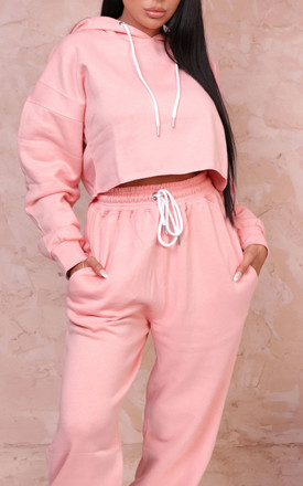 Alya Pink Cropped Hoodie & High Waisted Jogger Loungewear Set by Femme Luxe