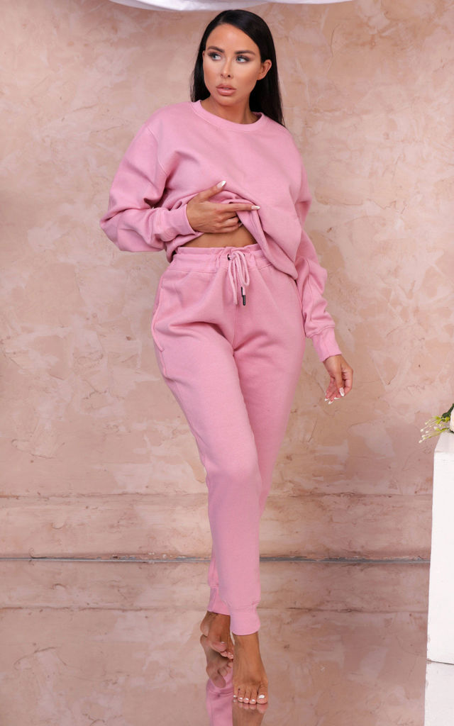 Christina Pink Oversized Sweatshirt & Joggers Loungewear Set by Femme Luxe