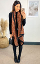 Leopard Print Scarf with black lining in Orange by TENKI LONDON