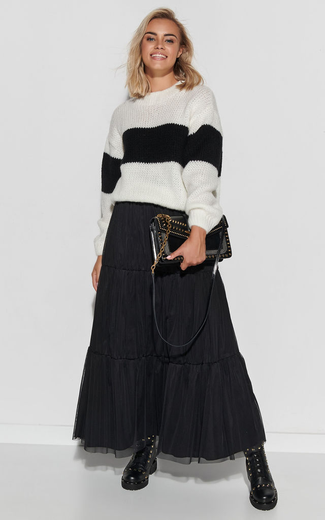 Black Maxi Tulle Skirt with Lining by Makadamia