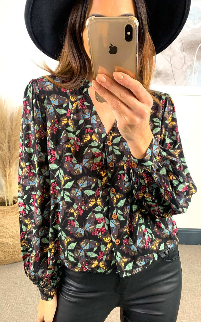 Meredith Boho Woodland Butterfly Print Top by Bright & Beautiful