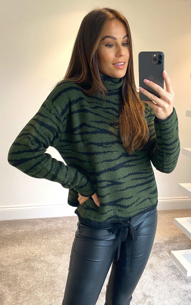 Green Animal Roll Neck Drawstring Jumper by APRICOT