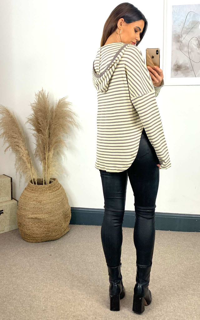 Stripe Hoodie in Beige and Grey by HOXTON GAL