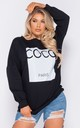 Black Coco Print Oversized Sweatshirt by Parisian Fashion